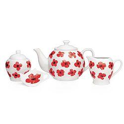 4dílná porcelánová sada nádobí Sabichi Spring Poppy