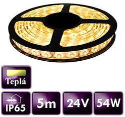 BRG 24V 5m LED pás 60 SMD 2835/m 10,8W/m teplá biela IP65