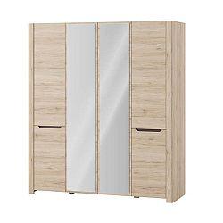 Čtyřdveřová šatní skříň ve dřevěném dekoru Szynaka Meble Desjo