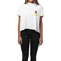 Dámské bílé triko z organické bavlny s motivem Dobrá energie od Dana Bárty & Vladimíra 518 pro KlokArt, vel.XS