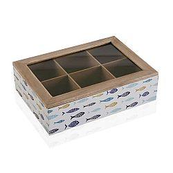 Dřevěná krabice na čaj s víkem Versa Blue Bay