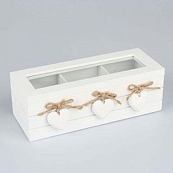 Dřevěná krabička na čaj Dakls Three Hearts