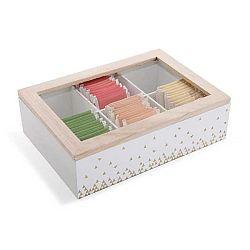 Dřevěný bílý úložný box na čaj s 6 přihrádkami Versa Tea