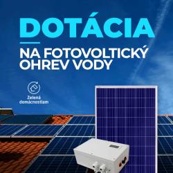 Ecoprodukt Dotace na fotovoltaický systém na ohřev vody OPL 7AC a 8 panelů. Výkon 2,28kWp.