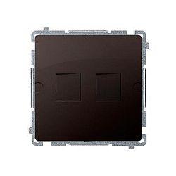 Kryt zásuvky 2x RJ45/RJ12 Simon Basic modul čokoládový