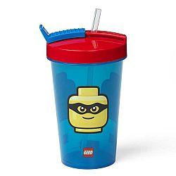 Modrý kelímek s červeným víčkem a brčkem LEGO® Iconic, 500ml
