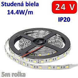 Optonica 24V 5m LED pásik 60x SMD5050 14.4W Studená biela IP20