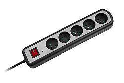Predlž. zásuvka s prep.ochr.5x+vypínač 3m,(3x1,5mm)
