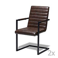 Sada 2 tmavě hnědých židlí Furnhouse Fanny