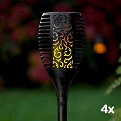 Sada 4x Zahradní solární lampa SolarCentre TrueFlame SS9965 zapichovací s USB nabíjením