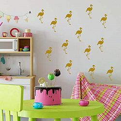 Sada žlutých samolepek na zeď North Carolina Scandinavian Home Decors Flamingo