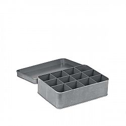Šedá kovová krabice na čaj LABEL51