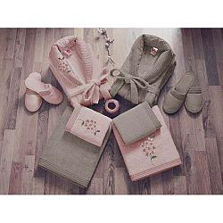 Set dámského a pánského županu, ručníků, osušek a 2 párů pantoflí v béžové a růžové barvě Family Bath