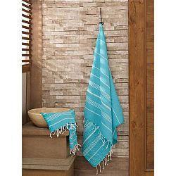 Set modrého ručníku a osušky Hammam ze 100% bavlny Sultan