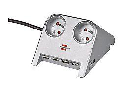 Zásuvková lišta Desktop-Power-Plus s USB hubom Brennenstuhl 1153541124 - 2 zásuvky